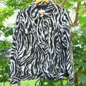 Zebra Print Linen Jacket 1X